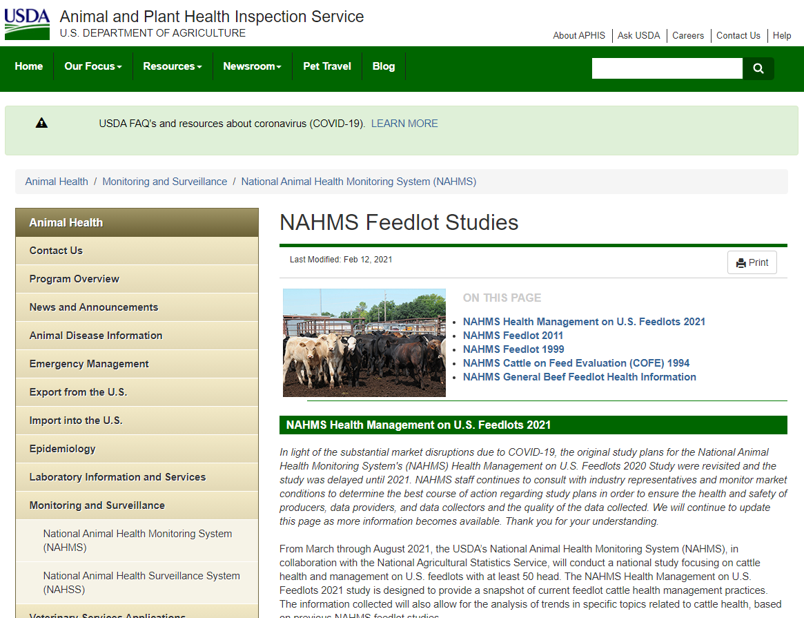 NAHMS Feedlot 2021 Survey