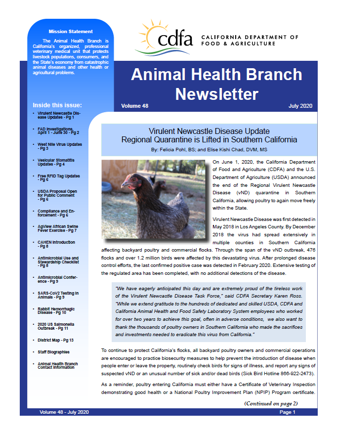 July 2020 Newsletter front cover