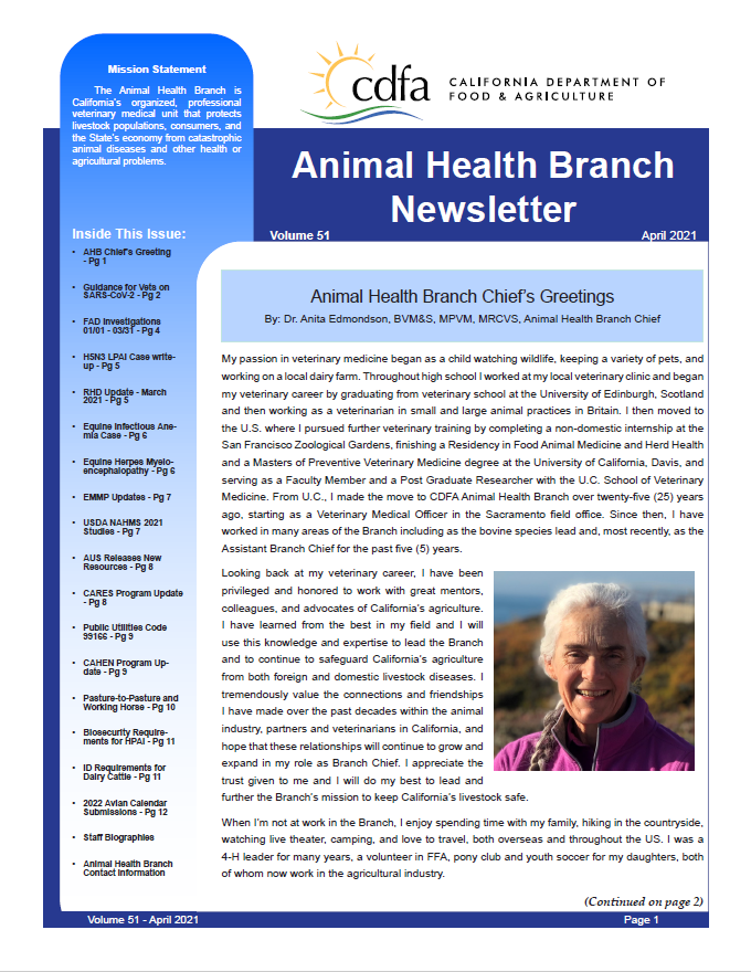 April 2021 Newsletter front cover