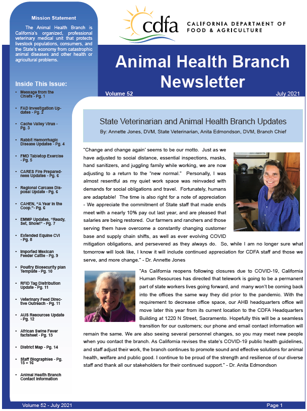 July 2021 Newsletter front cover