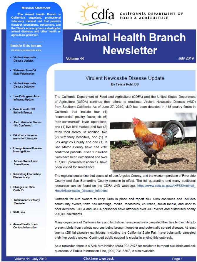 CDFA - AHFSS - AHB - AHB Newsletter