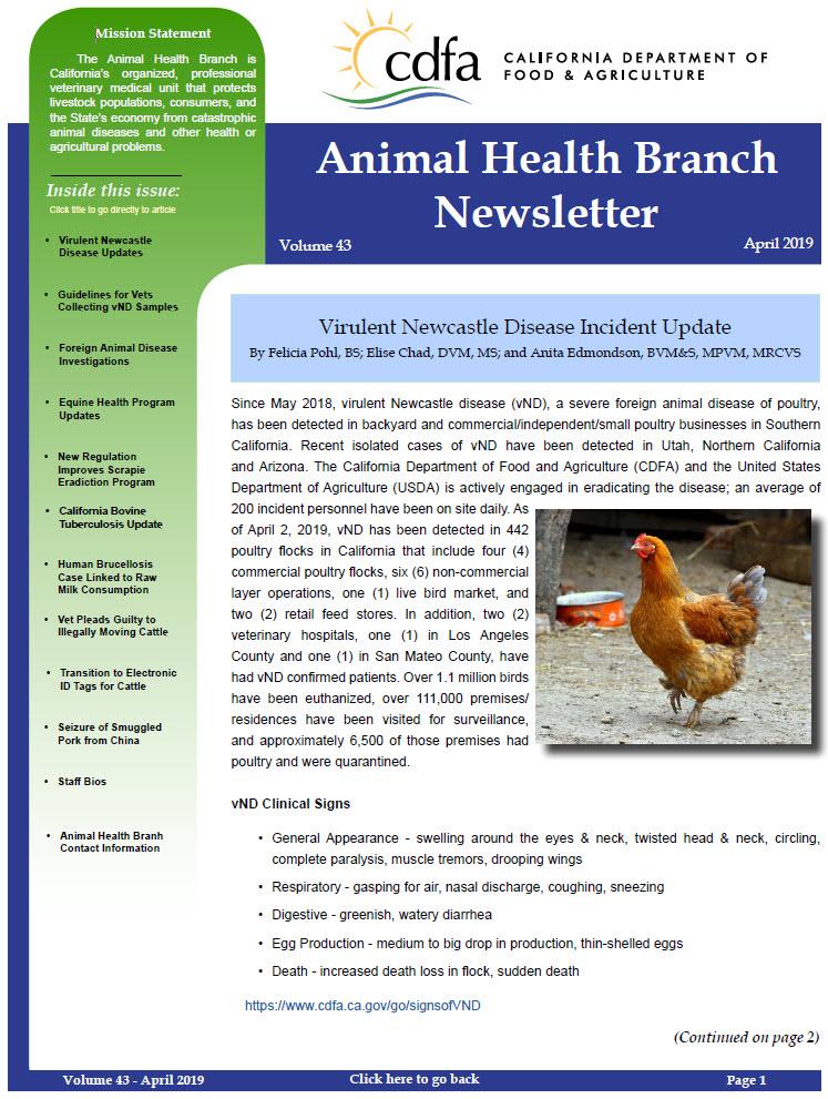CDFA - AHFSS, AHB - Newsletter