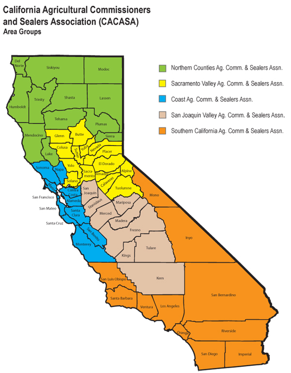 CDFA - County/State Liaison Office > CACASA Area Groups Map California Agriculture Map on