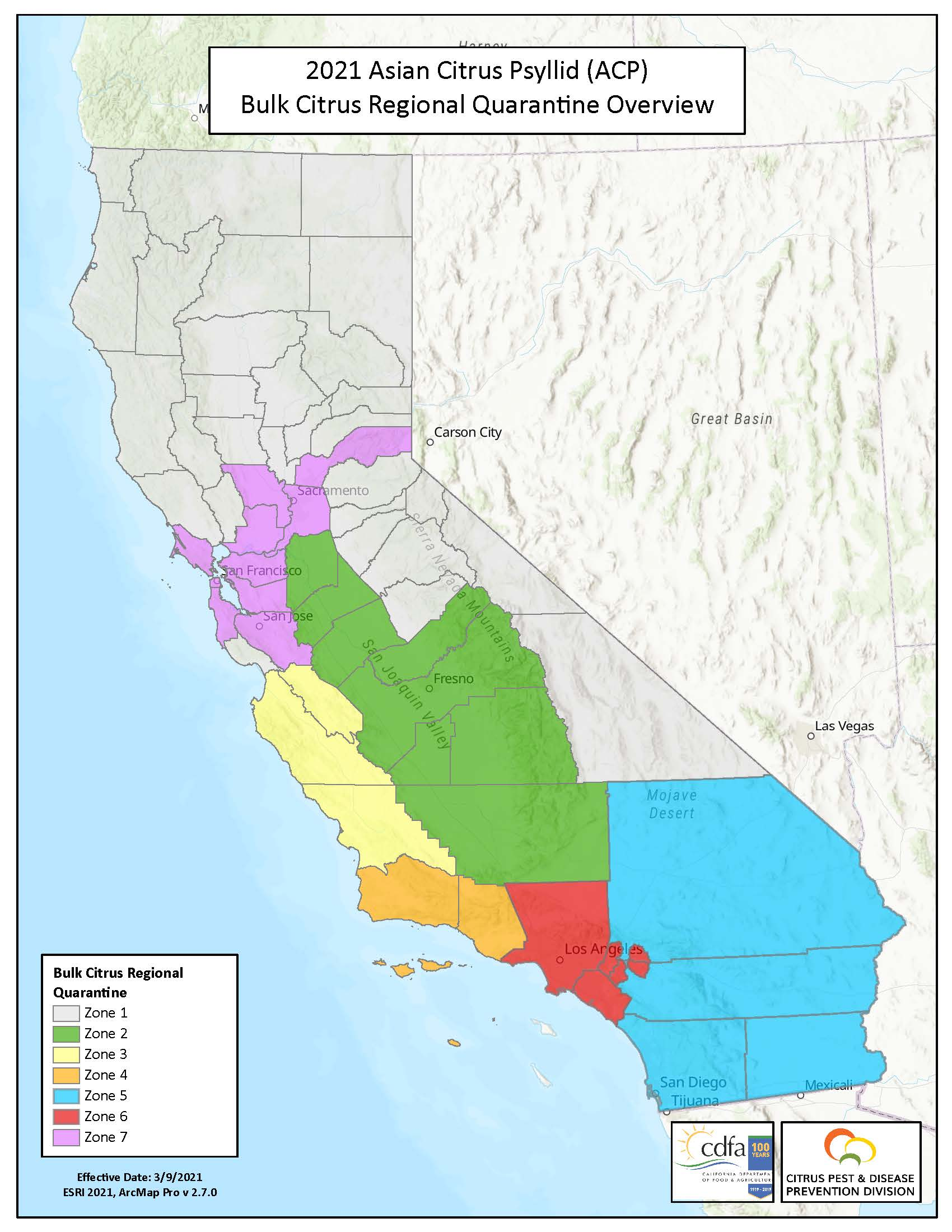 Map for Bulk Citrus Regional Quarantine Zones