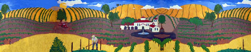 painting of farmer in rolling hills with vineyards